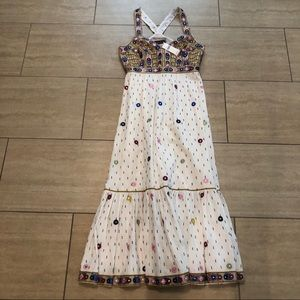 NWT - Anthropologie embroidered maxi dress